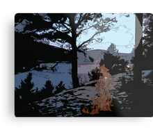 Camp Fire // Comic Style Metal Print