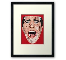 American Psycho Vector Portrait - Red Framed Print
