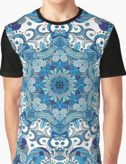 Blue & White Boho Mandela Pattern Graphic T-Shirt
