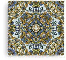 Olive Green & Blue Boho Mandela Pattern Canvas Print