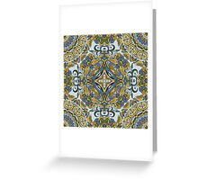 Olive Green & Blue Boho Mandela Pattern Greeting Card