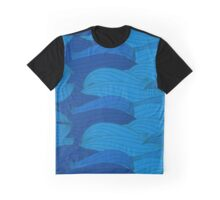 Wavy blue patern Graphic T-Shirt