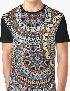 Blue & Gold Boho Mandela Pattern Graphic T-Shirt