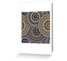 Blue & Gold Boho Mandela Pattern Greeting Card