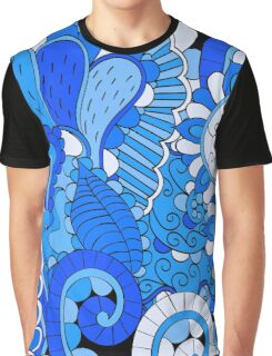 Blue Boho Fantasy Floral Graphic T-Shirt