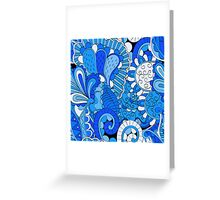 Blue Boho Fantasy Floral Greeting Card