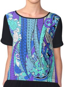 Purple & Blue Floral Fantasy Pattern Chiffon Top