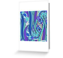 Purple & Blue Floral Fantasy Pattern Greeting Card