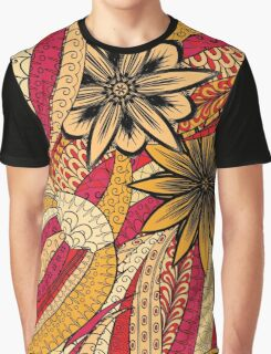 Red & Yellow Boho Floral Fantasy Pattern Graphic T-Shirt