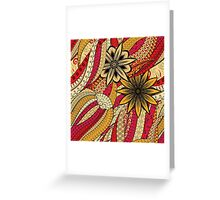 Red & Yellow Boho Floral Fantasy Pattern Greeting Card