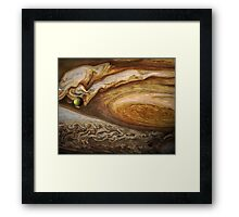 Callisto passing before Jupiter, space exploration, astronomy Framed Print