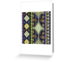 Purple & Yellow Boho Tribal Pattern Greeting Card