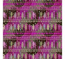 Purple Boho Feather Pattern Photographic Print