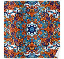 Orange & Blue Boho Mandela Pattern Poster