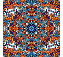 Orange & Blue Boho Mandela Pattern Photographic Print