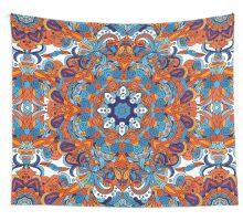 Orange & Blue Boho Mandela Pattern Wall Tapestry