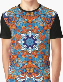 Orange & Blue Boho Mandela Pattern Graphic T-Shirt