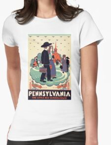 Pennsylvania The Little Red Schoolhouse Vintage Travel Poster Womens Fitted T-Shirt