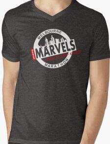 Melbourne Marvel Participent Range white Mens V-Neck T-Shirt