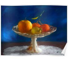 Apple, lemon and mandarins. Poster
