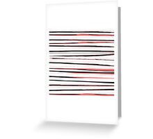 Beautiful old-fashion Stripes Watercolor Black and Red Pattern Greeting Card