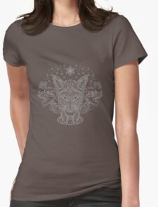 Fox hunting in the snow on black, white and gray Womens Fitted T-Shirt