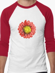 Red Chrysanthemum Flower Illustration Men's Baseball ¾ T-Shirt