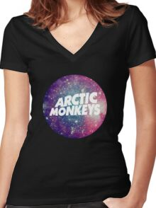Arctic Monkeys - Logo Galaxy Women's Fitted V-Neck T-Shirt