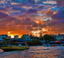 Ecuador. Galapagos Islands. Puerto Ayora. Sunset. by vadim19
