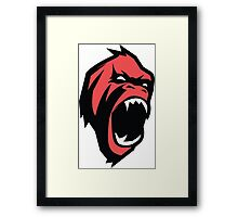 Mad gorilla animal in Red Framed Print
