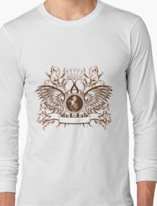 Vintage Crown, horse and Eagle cute Design Long Sleeve T-Shirt