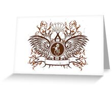 Vintage Crown, horse and Eagle cute Design Greeting Card