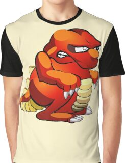 Red and Yellow Cartoon Monster Graphic T-Shirt