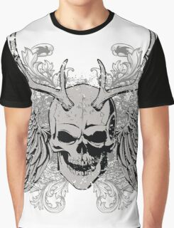 zombie Scary Skull with antlers and wings Graphic T-Shirt