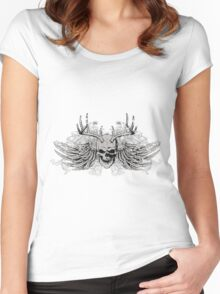 zombie Scary Skull with antlers and wings Women's Fitted Scoop T-Shirt