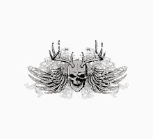 zombie Scary Skull with antlers and wings Unisex T-Shirt
