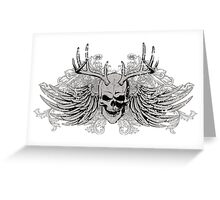 zombie Scary Skull with antlers and wings Greeting Card