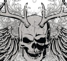 zombie Scary Skull with antlers and wings Sticker