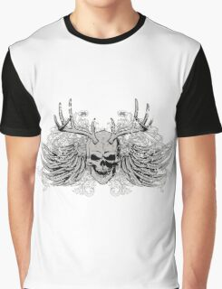 Laughing vintage Dead Skull with eagle wings Graphic T-Shirt