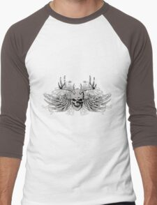 Laughing vintage Dead Skull with eagle wings Men's Baseball ¾ T-Shirt