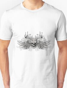 Laughing vintage Dead Skull with eagle wings Unisex T-Shirt