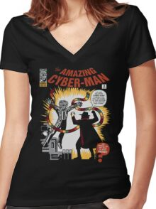 The Amazing Cyber-Man! Women's Fitted V-Neck T-Shirt