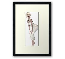 Blond Woman Wearing Beige Pajamas. Steampunk Art Framed Print