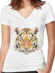 Tiger in Blurry and Digital Design Women's Fitted V-Neck T-Shirt