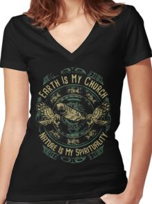 NATIVE AMERICAN EARTH IS MY CHURCH NATURE IS MY SPIRITUALITY Women's Fitted V-Neck T-Shirt