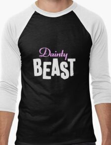 Dainty Beast (on black) Men's Baseball ¾ T-Shirt