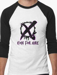 Icon For Hire XO Black Text Men's Baseball ¾ T-Shirt