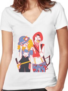 Red and Goldilocks Women's Fitted V-Neck T-Shirt