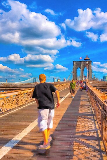Lazy Days on the Brooklyn Bridge by Mark Tisdale