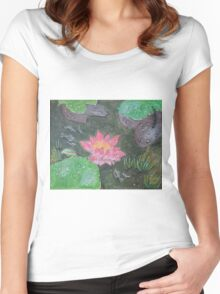 Acrylic painting, beautiful pink waterlily flower Women's Fitted Scoop T-Shirt